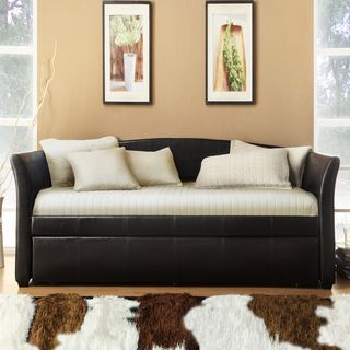 ETHAN HOME Deco Dark Brown Faux Leather Daybed with Trundle