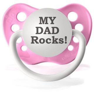 Personalized Pacifiers My Dad Rocks Pacifier in Pink