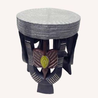 Sese Wood Round Sankofa Bird Stool (Ghana)