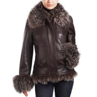 Jessie G. Womens New Zealand Lambskin Leaer Jacket wi