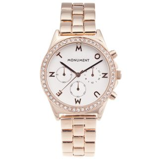 Monument Womens Rose Gold tone Signature Glitz Watch
