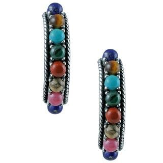 Southwest Moon Sterling Silver Multi gemstone Half hoop Earrings