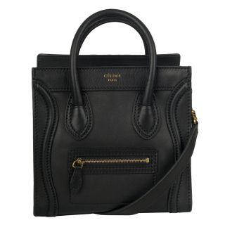 Celine Mini Black Leather Shopper Bag