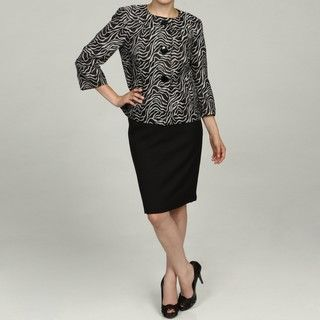Isabella Womens Black/ Grey Jacquard Skirt Suit