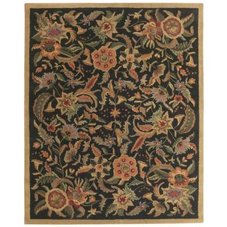 Hand tufted Paradise Black/ Multi Wool Rug (5 x 8)