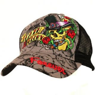 Skull Tattoo Art Ink Death & Glory Trucker Cap Hat Gray