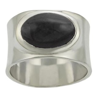 Tressa Sterling Silver Onyx Thick Band Ring