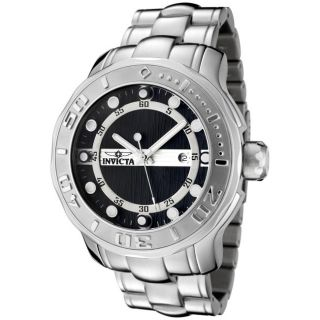 Invicta Mens Pro Diver Black Textured Dial Stainless Steel Watch