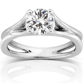 14k White Gold 8 mm Moissanite Solitaire Engagement Ring