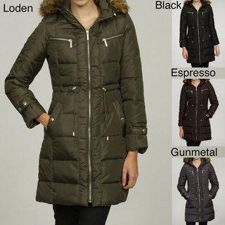 MICHAEL Michael Kors Womens Faux Fur Hooded Coat
