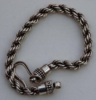 Sterling Silver Oxidized Rope Chain Bracelet (India)