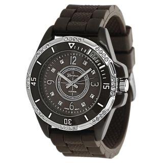 Geneva Platinum Womens Rhinestone accented Brown Silicone Watch