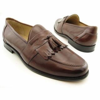 Johnston and Murphy Mens Emery Brown Saddle/Tan Dress Shoes (Size