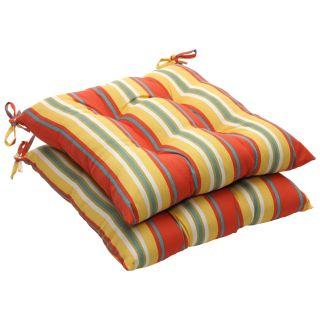 Orange/ Yellow Stripe Outdoor Tufted Seat Cushions (Set of 2