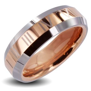 Mens Tungsten Carbide Rose Gold Roman Numeral Ring (6 mm)