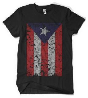 (Cybertela) Faded Puerto Rico Flag Mens T shirt Country