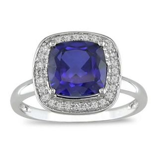 Miadora 10k Gold Created Sapphire and 1/10ct TDW Diamond Ring (I J, I2