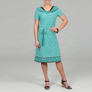 Danny & Nicole Womens Black/ Turquoise Dress