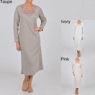 La Cera Womens Plus Size Long Sleeve Crochet Yoke Nightgown