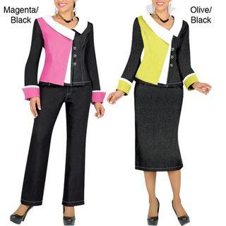 Divine Apparel Color Block Womens Plus Size 3 Piece Wardrobe