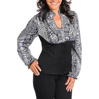 Stanzino Womens Plus Mock Layer Animal Print Blouse Top