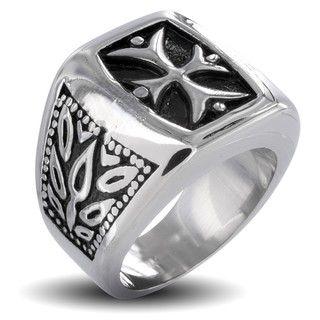 Stainless Steel Mens Tribal Life Cross Ring