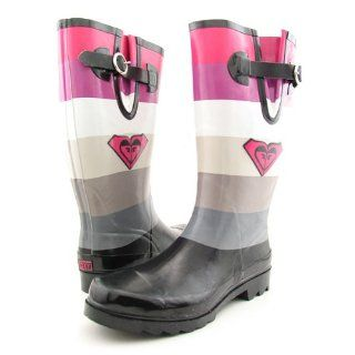 Roxy Puddles Black Pink Juniors Rain Boots (9) Shoes