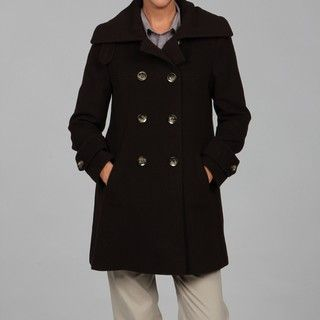 Larry Levine Womens Petite Double breasted Camel Hair Coat