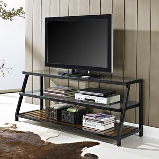 60 inch Glass Metal Antique Brown Wood TV Stand