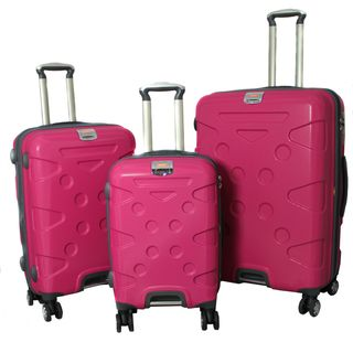 Peninsula 3 piece Lightweight Expandable Pink Hardside Spinner Luggage