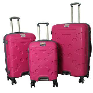 Peninsula 3 piece Lightweight Expandable Pink Hardside Spinner Luggage