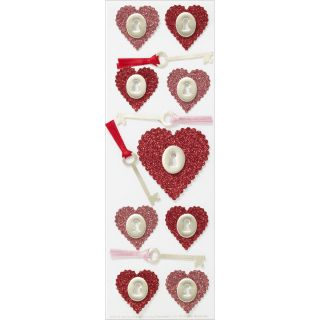 Martha Stewart Valentine Stickers Glitter Heart and Key Today $6.09