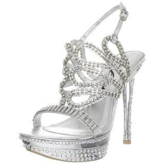 Celeste Womens Natalie 07 Silver Rhinestone Heels