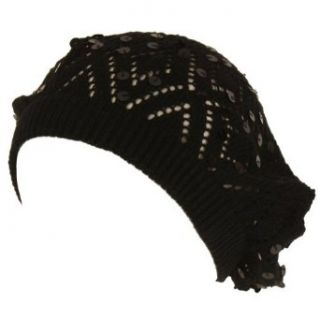 Knit Sequins Light Beret Tam Slouch Hat Dance Cap Black