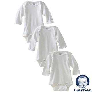 Gerber White Long Sleeve Bodysuit (Pack of 3)