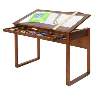 Studio Designs Ponderosa Glass topped Solid Wood Drafting Table