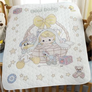 Moments Crib Cover Stamped Cross Stitch Kit 34x43
