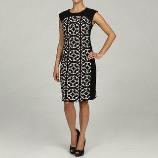 London Times Sleeveless Print Panel Sheath Dress