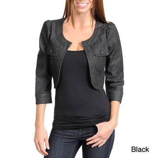 Stanzino Womens Quarter Sleeve Open Front Denim Jacket