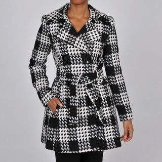 Via Spiga Womens Black/White Plaid Wool blend Belted Trench Coat