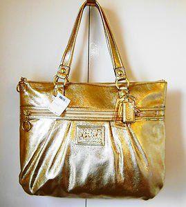 Coach Poppy Leather Metallic Gold Glam Tote Purse 20361