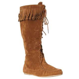 Riverberry Womens Friends Chestnut Lace up Fringe Boots