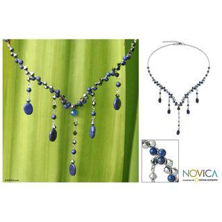 Stainless Steel Blue Empress Lapis Lazuli Necklace (Thailand