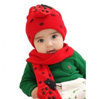 LOCOMO Baby Infant Boy Girl Ladybug Beanie Hat Cap Scarf