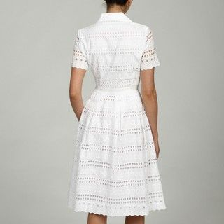 Jones New York Dress Womens Cotton Eyelet Shirt Dress