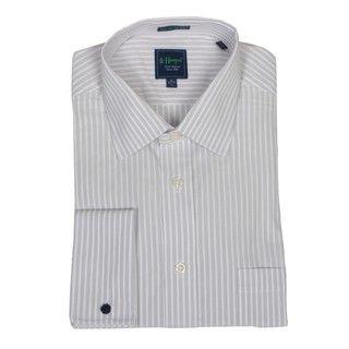 Haspel Mens Grey Sripe French Cuff Dress Shir