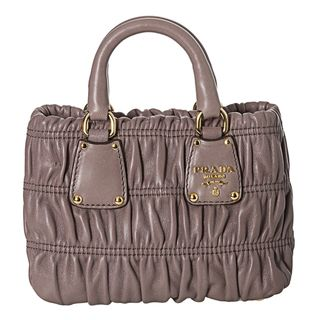 Prada Gaufre Grey Nappa Leather Ruched Mini Crossbody Handbag