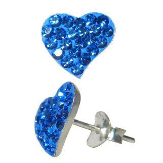 Sterling Silver Blue Crystal Heart Earrings