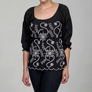 Born Purple Eyelet Embroidered Cotton Blouse