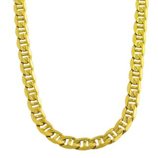 14k Yellow Gold Mens Solid 18 inch Mariner Link Necklace